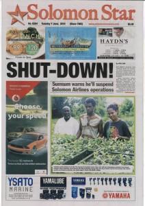 Myrna et Boris ont même fait la une du quotidien Solomon Star.